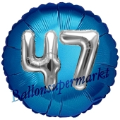 Runder Luftballon Jumbo Zahl 47, blau-silber mit 3D-Effekt zum 47. Geburtstag