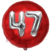 Runder Luftballon Jumbo Zahl 47, rot-silber mit 3D-Effekt zum 47. Geburtstag