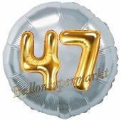 Runder Luftballon Jumbo Zahl 47, silber-gold mit 3D-Effekt zum 47. Geburtstag