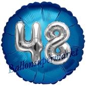 Runder Luftballon Jumbo Zahl 48, blau-silber mit 3D-Effekt zum 48. Geburtstag