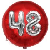Runder Luftballon Jumbo Zahl 48, rot-silber mit 3D-Effekt zum 48. Geburtstag