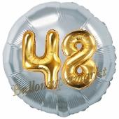 Runder Luftballon Jumbo Zahl 48, silber-gold mit 3D-Effekt zum 48. Geburtstag