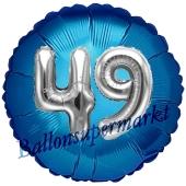 Runder Luftballon Jumbo Zahl 49, blau-silber mit 3D-Effekt zum 49. Geburtstag