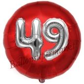 Runder Luftballon Jumbo Zahl 49, rot-silber mit 3D-Effekt zum 49. Geburtstag