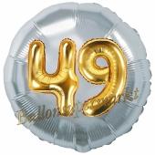 Runder Luftballon Jumbo Zahl 49, silber-gold mit 3D-Effekt zum 49. Geburtstag