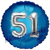 Runder Luftballon Jumbo Zahl 51, blau-silber mit 3D-Effekt zum 51. Geburtstag
