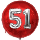 Runder Luftballon Jumbo Zahl 51, rot-silber mit 3D-Effekt zum 51. Geburtstag