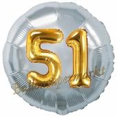 Runder Luftballon Jumbo Zahl 51, silber-gold mit 3D-Effekt zum 51. Geburtstag