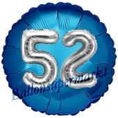 Runder Luftballon Jumbo Zahl 52, blau-silber mit 3D-Effekt zum 52. Geburtstag