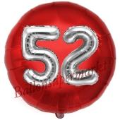 Runder Luftballon Jumbo Zahl 52, rot-silber mit 3D-Effekt zum 52. Geburtstag
