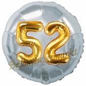 Runder Luftballon Jumbo Zahl 52, silber-gold mit 3D-Effekt zum 52. Geburtstag