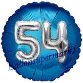 Runder Luftballon Jumbo Zahl 54, blau-silber mit 3D-Effekt zum 54. Geburtstag