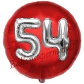 Runder Luftballon Jumbo Zahl 54, rot-silber mit 3D-Effekt zum 54. Geburtstag