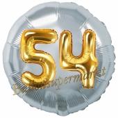 Runder Luftballon Jumbo Zahl 54, silber-gold mit 3D-Effekt zum 54. Geburtstag