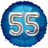 Runder Luftballon Jumbo Zahl 55, blau-silber mit 3D-Effekt zum 55. Geburtstag