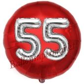 Runder Luftballon Jumbo Zahl 55, rot-silber mit 3D-Effekt zum 55. Geburtstag