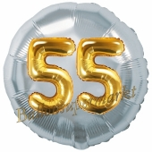 Runder Luftballon Jumbo Zahl 55, silber-gold mit 3D-Effekt zum 55. Geburtstag