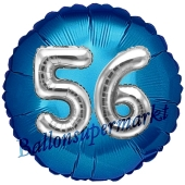 Runder Luftballon Jumbo Zahl 56, blau-silber mit 3D-Effekt zum 56. Geburtstag