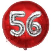 Runder Luftballon Jumbo Zahl 56, rot-silber mit 3D-Effekt zum 56. Geburtstag
