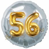 Runder Luftballon Jumbo Zahl 56, silber-gold mit 3D-Effekt zum 56. Geburtstag