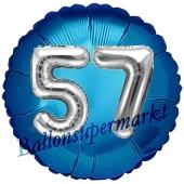 Runder Luftballon Jumbo Zahl 57, blau-silber mit 3D-Effekt zum 57. Geburtstag
