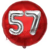 Runder Luftballon Jumbo Zahl 57, rot-silber mit 3D-Effekt zum 57. Geburtstag