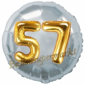 Runder Luftballon Jumbo Zahl 57, silber-gold mit 3D-Effekt zum 57. Geburtstag