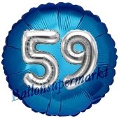 Runder Luftballon Jumbo Zahl 59, blau-silber mit 3D-Effekt zum 59. Geburtstag