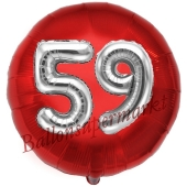 Runder Luftballon Jumbo Zahl 59, rot-silber mit 3D-Effekt zum 59. Geburtstag