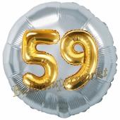 Runder Luftballon Jumbo Zahl 59, silber-gold mit 3D-Effekt zum 59. Geburtstag