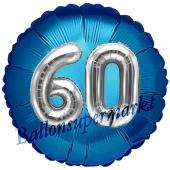 Runder Luftballon Jumbo Zahl 60, blau-silber mit 3D-Effekt zum 60. Geburtstag
