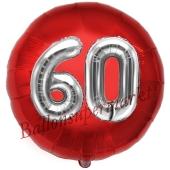 Runder Luftballon Jumbo Zahl 60, rot-silber mit 3D-Effekt zum 60. Geburtstag