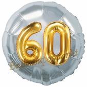 Runder Luftballon Jumbo Zahl 60, silber-gold mit 3D-Effekt zum 60. Geburtstag