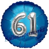 Runder Luftballon Jumbo Zahl 61, blau-silber mit 3D-Effekt zum 61. Geburtstag