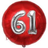 Runder Luftballon Jumbo Zahl 61, rot-silber mit 3D-Effekt zum 61. Geburtstag