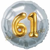 Runder Luftballon Jumbo Zahl 61, silber-gold mit 3D-Effekt zum 61. Geburtstag