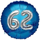 Runder Luftballon Jumbo Zahl 62, blau-silber mit 3D-Effekt zum 62. Geburtstag