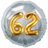 Runder Luftballon Jumbo Zahl 62, silber-gold mit 3D-Effekt zum 62. Geburtstag