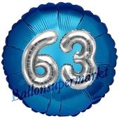 Runder Luftballon Jumbo Zahl 63, blau-silber mit 3D-Effekt zum 63. Geburtstag