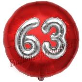 Runder Luftballon Jumbo Zahl 63, rot-silber mit 3D-Effekt zum 63. Geburtstag