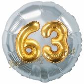 Runder Luftballon Jumbo Zahl 63, silber-gold mit 3D-Effekt zum 63. Geburtstag
