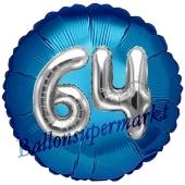 Runder Luftballon Jumbo Zahl 64, blau-silber mit 3D-Effekt zum 64. Geburtstag