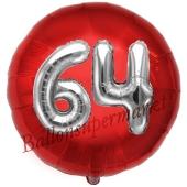 Runder Luftballon Jumbo Zahl 64, rot-silber mit 3D-Effekt zum 64. Geburtstag