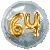 Runder Luftballon Jumbo Zahl 64, silber-gold mit 3D-Effekt zum 64. Geburtstag