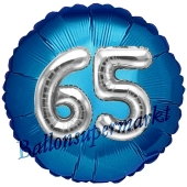 Runder Luftballon Jumbo Zahl 65, blau-silber mit 3D-Effekt zum 65. Geburtstag