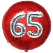 Runder Luftballon Jumbo Zahl 65, rot-silber mit 3D-Effekt zum 65. Geburtstag