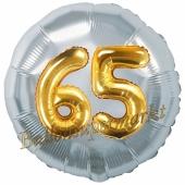 Runder Luftballon Jumbo Zahl 65, silber-gold mit 3D-Effekt zum 65. Geburtstag