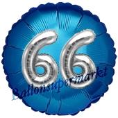 Runder Luftballon Jumbo Zahl 66, blau-silber mit 3D-Effekt zum 66. Geburtstag