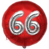 Runder Luftballon Jumbo Zahl 66, rot-silber mit 3D-Effekt zum 66. Geburtstag