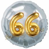 Runder Luftballon Jumbo Zahl 66, silber-gold mit 3D-Effekt zum 66. Geburtstag